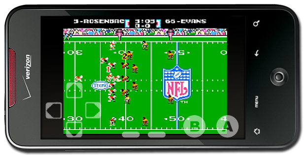 Droid Incredible running Tecmo Super Bowl